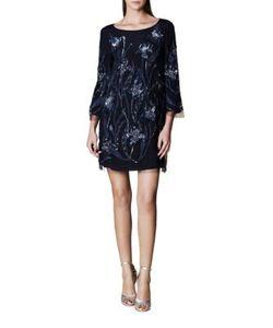 Marchesa Notte | Embellished Three-Fourth-Sleeve Dress