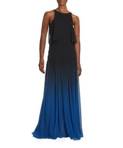 Halston Heritage   Silk Ombre Cutout Gown