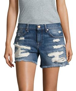 Seven for all Mankind | Frayed-Cuff Distressed Denim Shorts