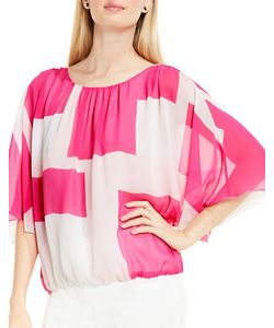 Vince Camuto | Abstract Grid Batwing Blouse