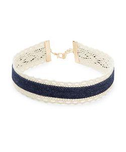 Noir   Design Lab Denim And Lace Choker Necklace