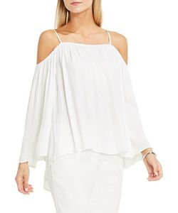 Vince Camuto | Petite Solid Cold Shoulder Rumple Blouse