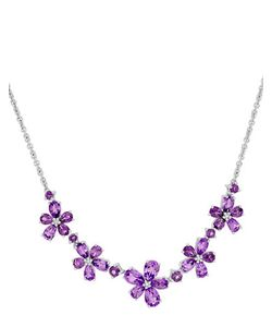 Lord & Taylor | Diamond Sterling And Amethyst Necklace