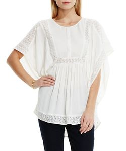 Two by VINCE CAMUTO | Paisley Lace Insert Crinkle Gauze Poncho