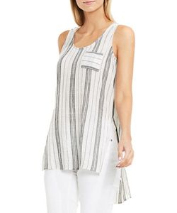 Two by VINCE CAMUTO | Crinkled Striped Cotton Tank Top