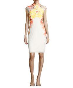Calvin Klein | Pleated Crossed Front Sheath Dress