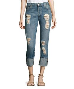 True Religion | Liv Low-Rise Distressed Cuffed Skinny Jeans