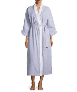 Eileen West | Lace Accented Striped Robe