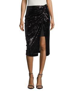 Badgley Mischka | Sequined Mock-Wrap Skirt