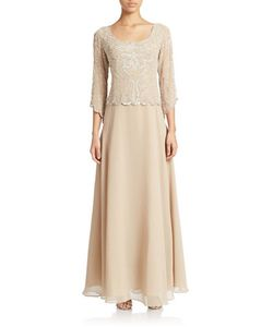 J Kara | Plus Three Quarter Sleeve Filigree Sequined And Beaded Chiffon Gown
