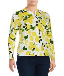 Lord & Taylor | Plus Limoncello Printed Long-Sleeve Cardigan