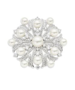 Nadri | Faux Pearl And Stone-Accented Brooch