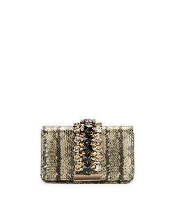 Sondra Roberts Squared   Embellished Snakeskin-Embossed Clutch