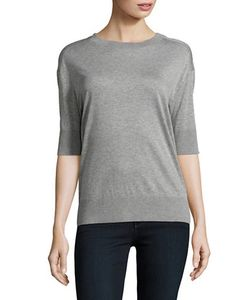 Dkny Pure   Jewelneck Relaxed-Fit Heathered Tee