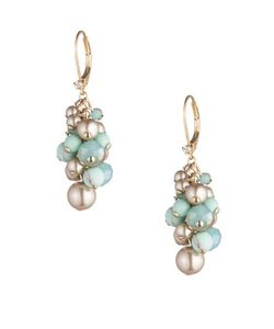 Carolee | Turquoise Sands Faux Pearl Beaded Cluster Drop Earrings