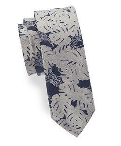 HUGO BOSS | Leaf-Patterned Silk-Blend Tie