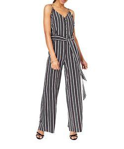 Miss Selfridge | Striped Button Front Jumpsuit