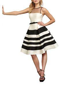 Mac Duggal   Striped A-Line Dress