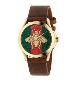 Gucci   G-Timeless Embroidered Bee Goldtone Stainless Steel Leather Strap Watch