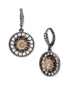 Jenny Packham | Hematite 9k Goldplated Drop Earrings