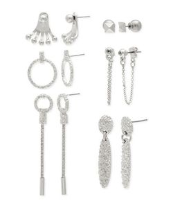 Steve Madden | Six Pair Silvertone Textured Multi-Geometric Earrings Set
