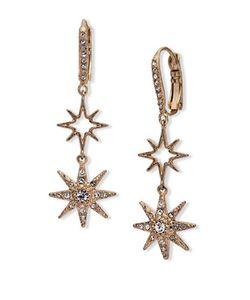 Jenny Packham | Crystal Embellished Double Star Drop Earrings