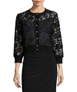 KARL LAGERFELD PARIS | Lace Button-Front Cardigan Vogue Exclusive