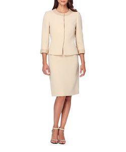 Tahari Arthur S. Levine | Pearl-Studded Jewelneck Snap Jacket Skirt Suit