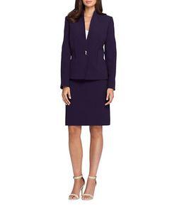 Tahari Arthur S. Levine | Petite Two-Piece Solid Jacket And Skirt Suit Set
