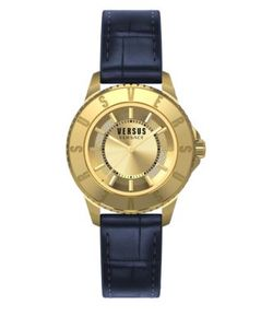 Versus | Tokyo Goldtone Stainless Steel Leather Strap Watch Sh7180015