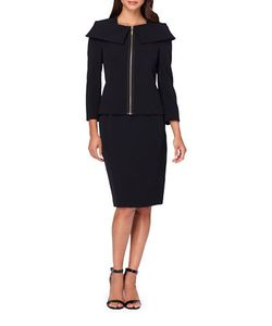 Tahari Arthur S. Levine | Two-Piece Solid Jacket And Skirt Set