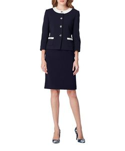 Tahari Arthur S. Levine | Two-Piece Contrast Patch Pocket Jacket And Skirt Suit
