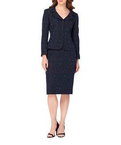 Tahari Arthur S. Levine | Two-Piece Portrait Neck Four-Button Jacket Skirt Suit
