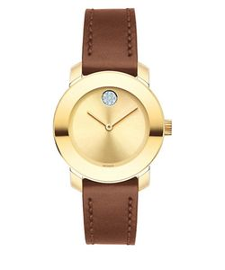 Movado Bold | Bold Stainless Steel Analog Leather Strap Watch