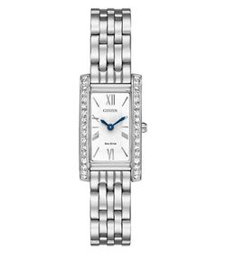CITIZEN   Eco-Drive Crystal-Pave Rectangular Analog Watch