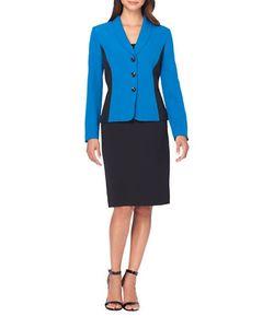 Tahari Arthur S. Levine | Colorblocked Jacket And Skirt Suit Set