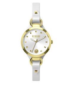 Versus | Roslyn Goldtone Stainless Steel Leather Strap Watch Som040015
