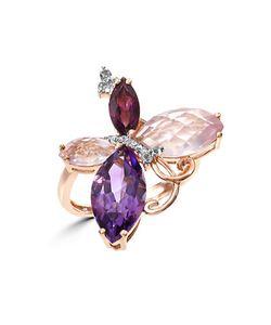 Effy | Mosaic Semi-Precious Multi-Stone Diamond And 14k Butterfly Ring