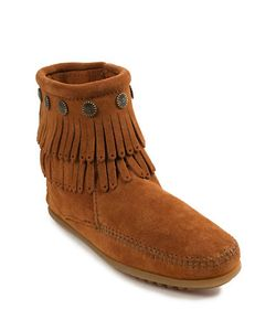 Minnetonka | Double Fringed Suede Ankle Boots