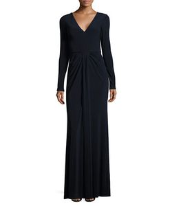 Vera Wang | Solid V-Neck Gown