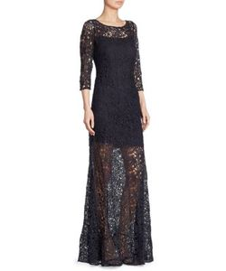 Kay Unger | Three-Quarter Sleeve Lace Sheer Gown