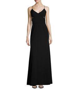 Vera Wang | Sheer Paneled V-Neck Gown