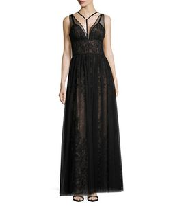 Vera Wang | Deep-V Mesh And Lace Gown
