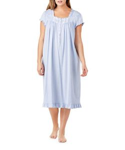 Eileen West | Plus Dotted Ruffle Trim Nightgown