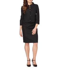 Tahari Arthur S. Levine | Rhinestone Closure Jacket And Skirt Suit