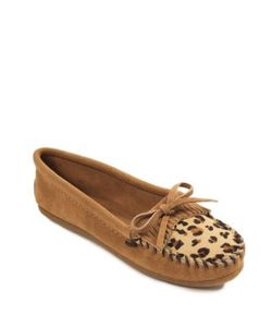 Minnetonka | Kilty Leopard-Print Calf Half And Suede Driver Moccasins