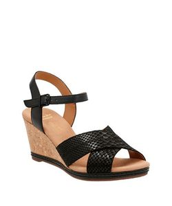 Clarks | Leather Wedge Sandals