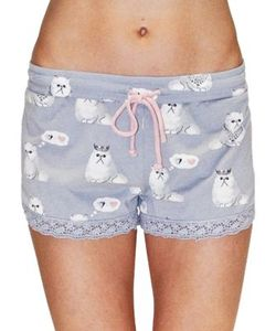 P.J. Salvage   Cat-Print Lace Shorts