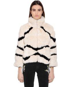 Blugirl | Striped Rabbit Fur Jacket