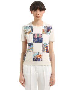 Salvatore Ferragamo | Wool Knit Printed Silk Twill Sweater